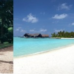Left side shows a man running in the island for fitness and right side image show the white sandy beach of One And Only