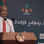 President Ibrahim Solih speaking at press conference