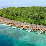 Dusit Thani Maldives Ariel image of the island.