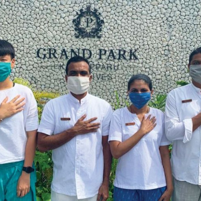 Grand Park Kohdhipparu Maldives team ready to welcome guests.