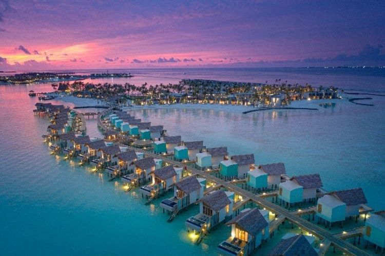 Ariel view of the beautiful Hard Rock Hotel In Maldives at the Sunset hours.