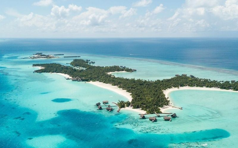 Ariel view of OO resorts in maldives.