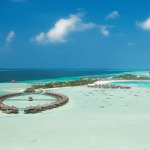 Arial View of Olhuveli beach & Spa in Maldives.