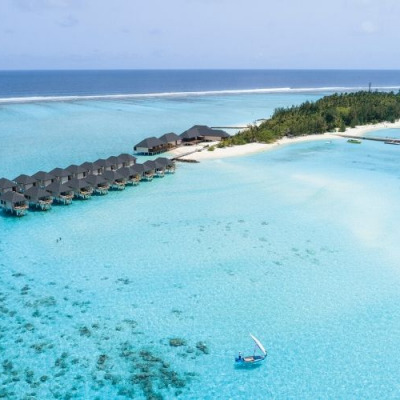 Ariel view of summer island maldives by Kaimoo.