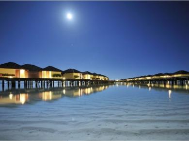 Overwater villas at Villa Hotels property, paradise island resort, Maldives