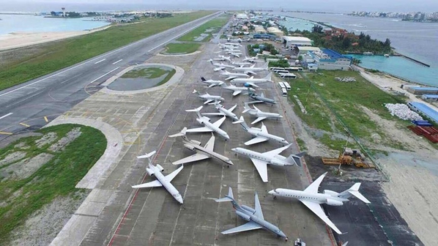 Maldives airport jets parked