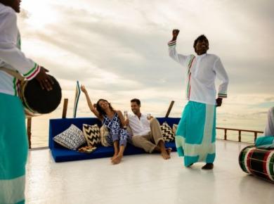 Traditional Boduberu being played to guests at Kanhura Maldives