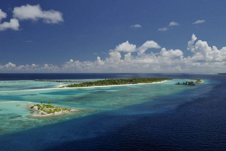 Aerial view of paradise island resort