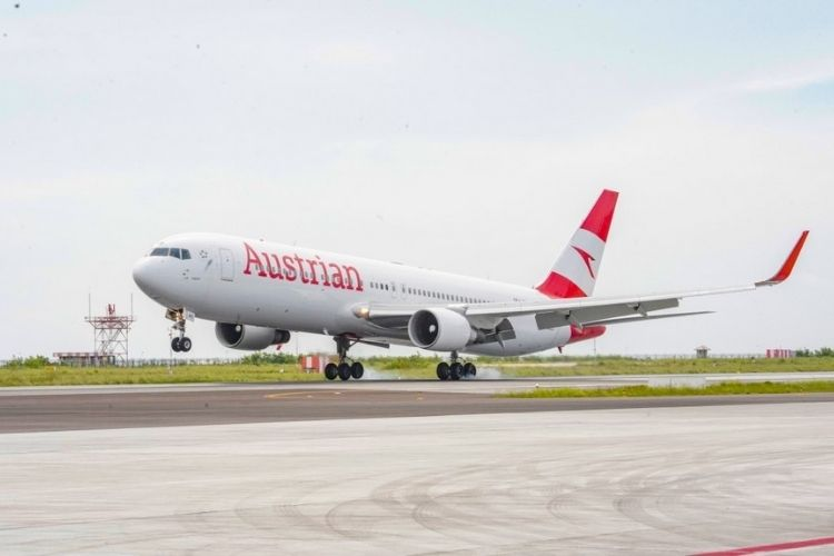 Austrian Airlines flight in the Maldives