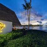 Hard Rock Hotel Maldives entrance at sunset