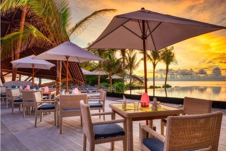 Mövenpick Resort Kuredhivaru Maldives view from restaurant