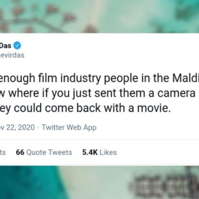 a twitter user's tweet about the Maldives