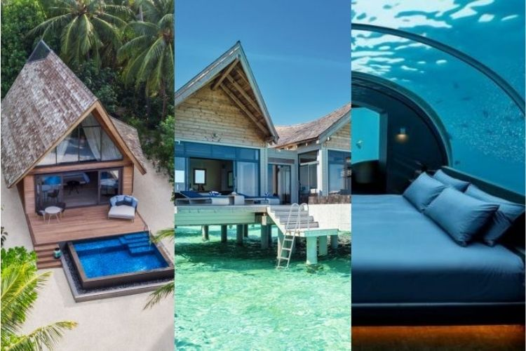 overwater, underwater and beach villa in the Maldives