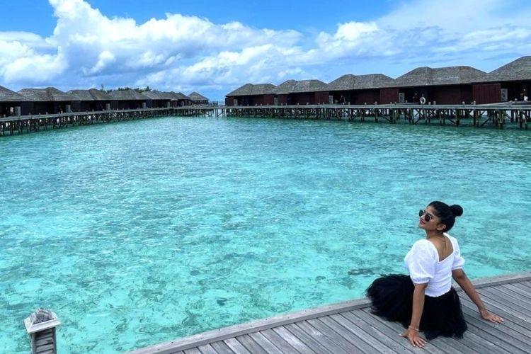 'Dear Megha' Star Megha Akash Spotted Enjoying a well-deserved break at Lily Beach Resort & Spa